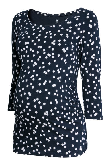 MAMA Cotton jersey top - Dark blue/Spotted -  | H&M