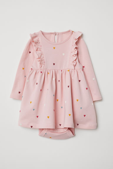 Jersey dress with bodysuit - Light pink/Hearts - Kids | H&M CN
