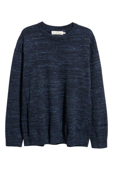 Knitted cotton jumper - Dark blue marl -  | H&M IE