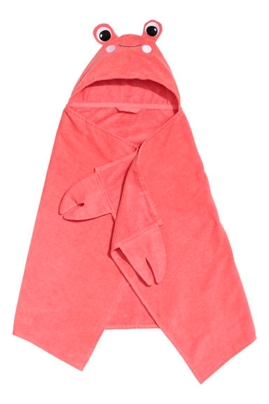 Hand towel with a hood - Coral/Crab - Home All | H&M CN