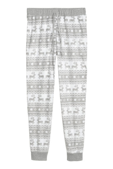 Fleece pyjama bottoms - Light grey/Reindeer - Ladies | H&M