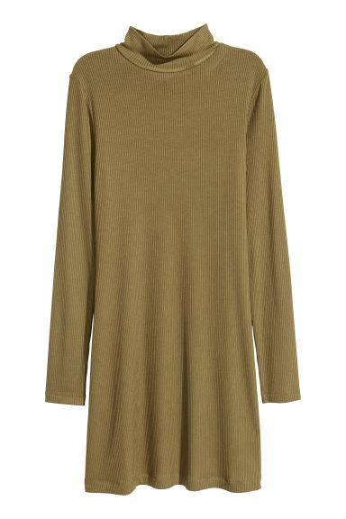 Ribbed jersey dress - Khaki green - Ladies | H&M CN