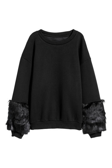 Sweatshirt with faux fur - Black - Ladies | H&M CN