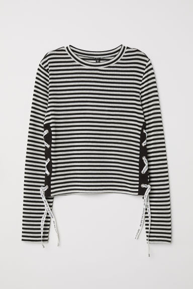 Jumper with lacing - Black/White striped -  | H&M CN