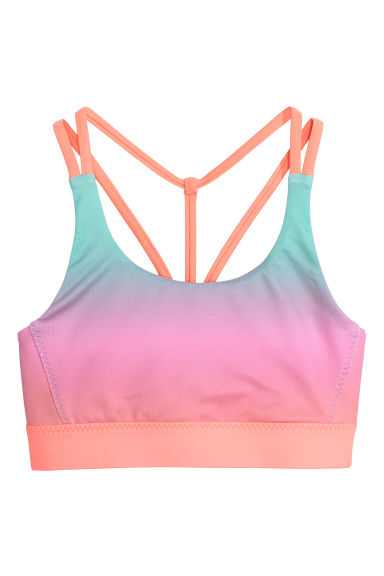 Sports crop top - Light turquoise/Multicoloured - Kids | H&M CN