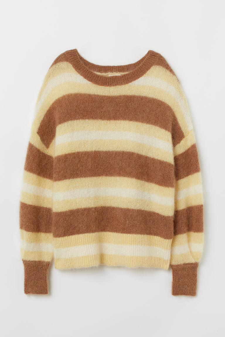 Knitted wool-blend jumper - Light yellow/Striped - Ladies | H&M GB