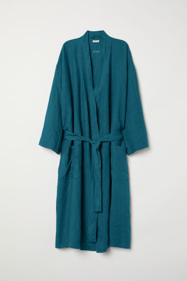 Washed linen dressing gown - Petrol - Home All | H&M CN