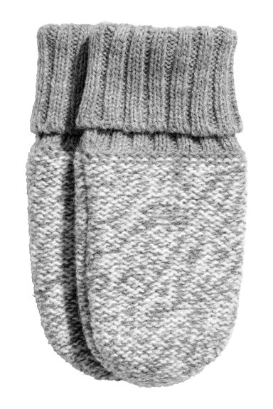 Fleece-lined mittens - Grey/White striped - Kids | H&M CN