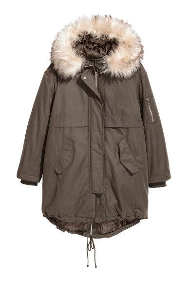 Padded parka with a hood - Dark khaki green -  | H&M IE 1