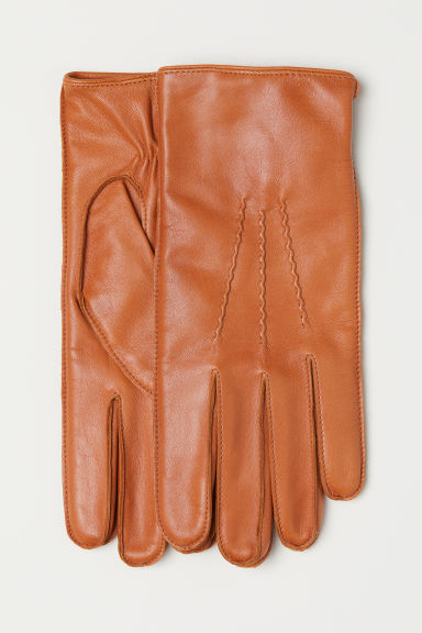 Leather gloves - Cognac brown -  | H&M CN