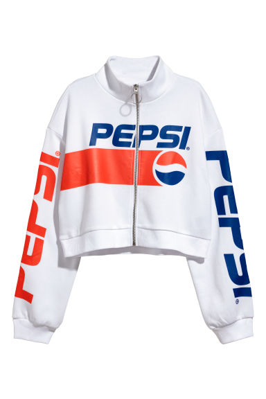 Cropped top with a zip - White/Pepsi - Ladies | H&M