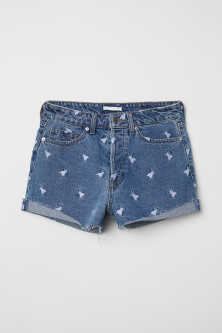 Denim short met borduursel