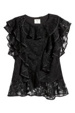 Lace top with frills - Black - Ladies | H&M CN 1