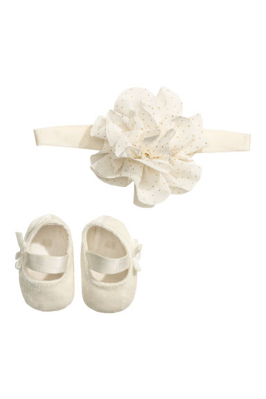 Ballet shoes and hairband - Natural white - Kids | H&M CN 1
