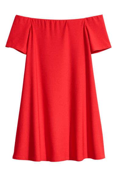 Off-the-shoulder dress - Bright red - Ladies | H&M GB
