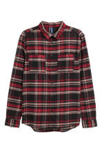Flannel shirt - Black/Red checked - Men | H&M CN 2