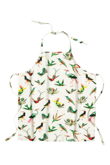 Patterned apron - White/Birds -  | H&M CN