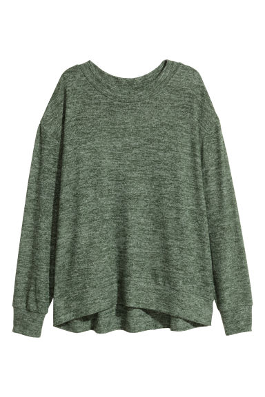 Fine-knit jumper - Green marl - Ladies | H&M CN 1