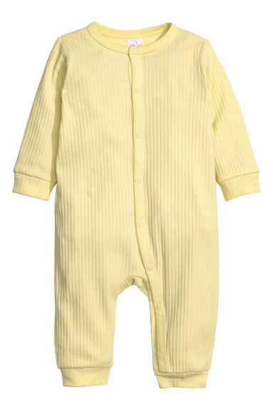 Ribbed all-in-one pyjamas - Light yellow -  | H&M CN