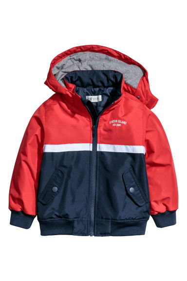 Hooded jacket - Red/Block coloured - Kids | H&M CN 1