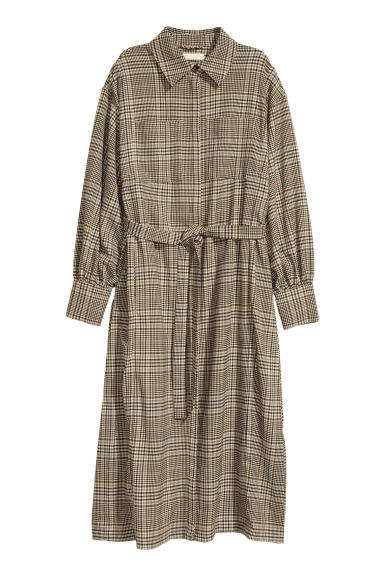 Coat with a tie belt - Beige/Dogtooth-patterned -  | H&M CN