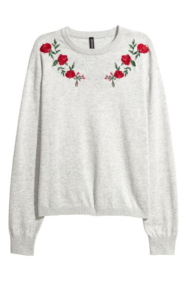 Pull en maille fine - Gris clair -  | H&M BE
