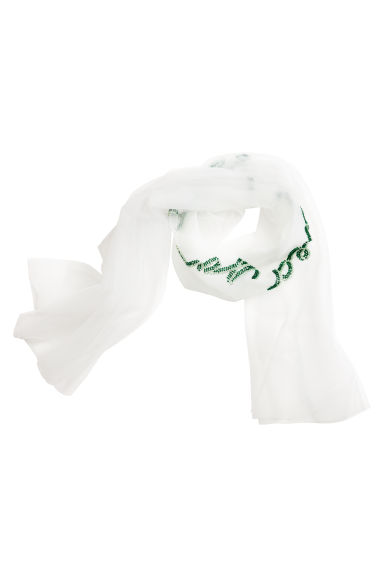 Mesh scarf - White/I loved you first - Ladies | H&M