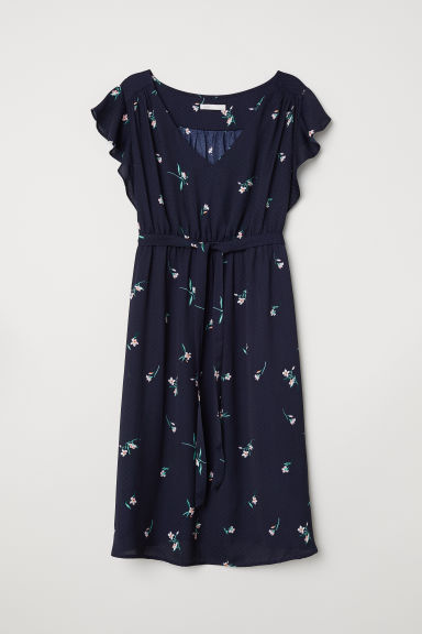 MAMA V-neck dress - Dark blue/Spotted - Ladies | H&M CN