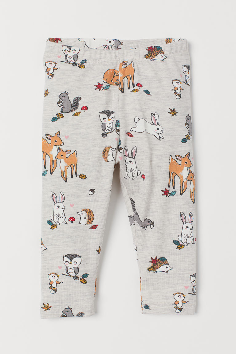 Jersey leggings - Light beige marl/Animals - Kids | H&M GB