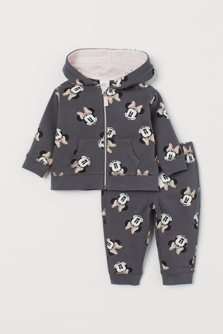 Hooded jacket and joggers - Dark grey/Minnie Mouse - Kids | H&M GB