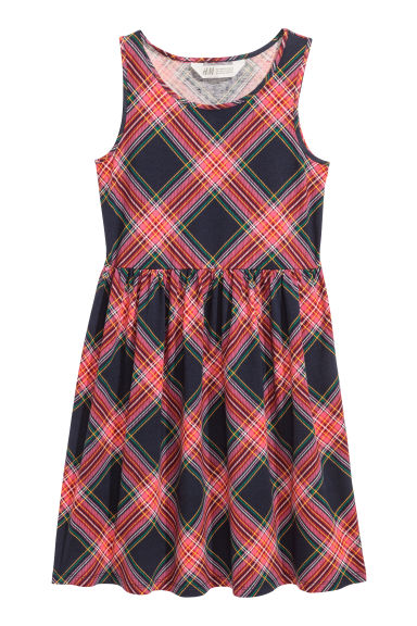 Patterned jersey dress - Dark blue/Pink checked - Kids | H&M CN
