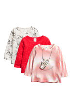 3-pack jersey tops - Bright red/Rabbit - Kids | H&M 1