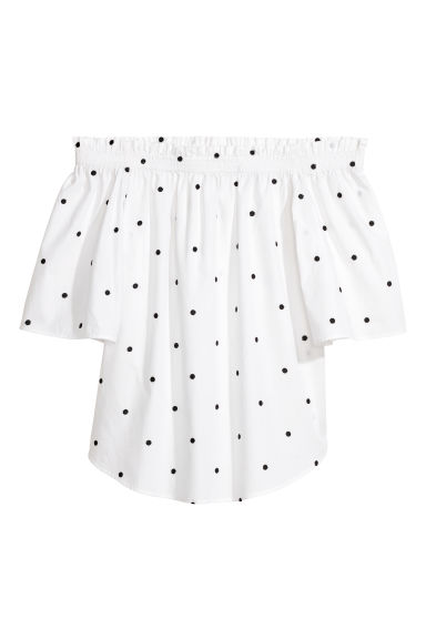 Off-the-shoulder top - White/Black spotted - Ladies | H&M GB