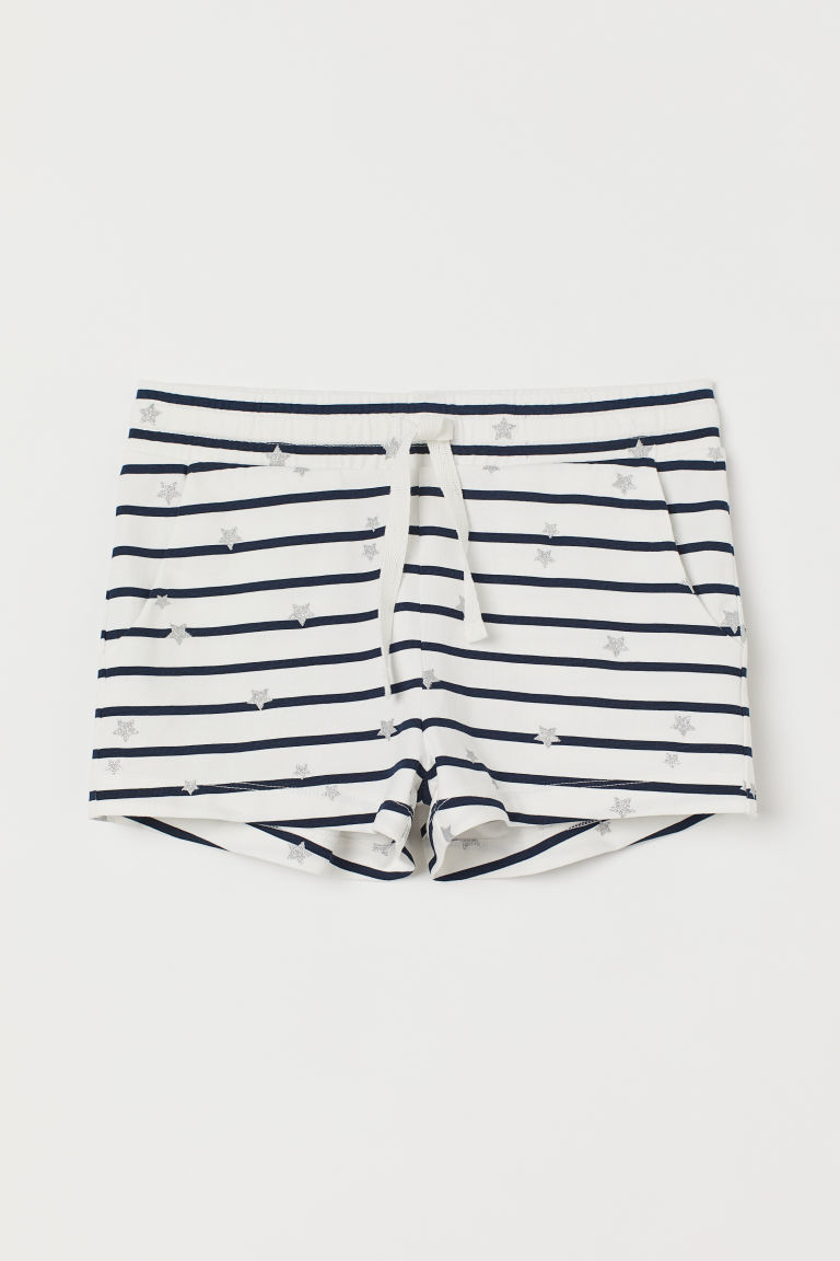 Short jersey shorts - White/Blue striped - Kids | H&M GB