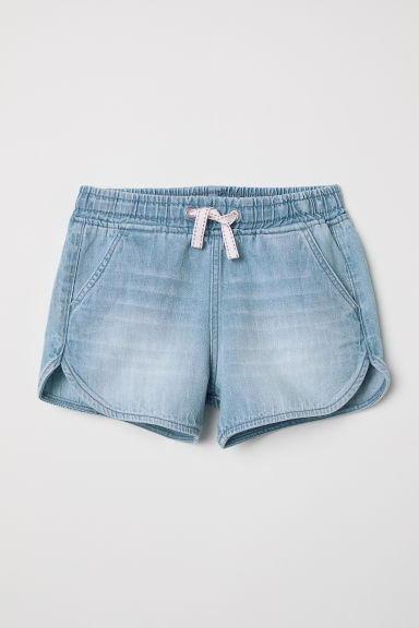 Elasticated denim shorts - Light denim blue -  | H&M CN