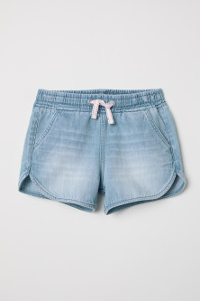 Elasticated denim shorts