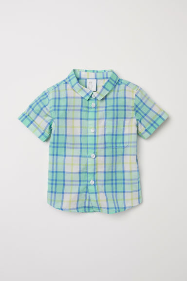 Short-sleeved cotton shirt - Light green/Checked - Kids | H&M CN