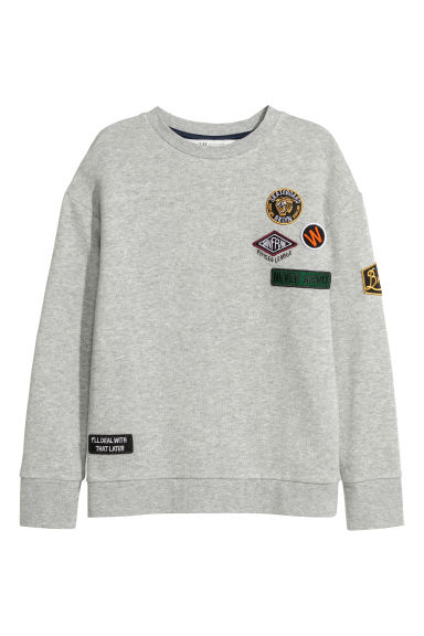 Sweatshirt with appliqués - Light grey -  | H&M GB