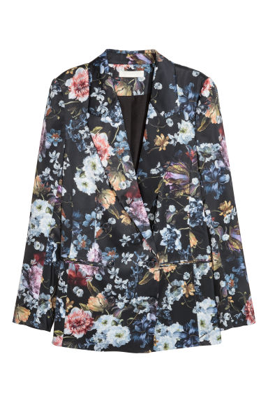 Patterned satin jacket - Black/Floral - Ladies | H&M 1