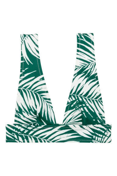 Bikini top - White/Green patterned - Ladies | H&M GB