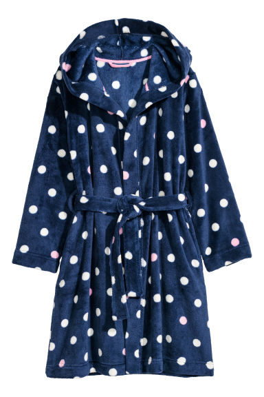 Fleece dressing gown - Dark blue/Spotted - Kids | H&M