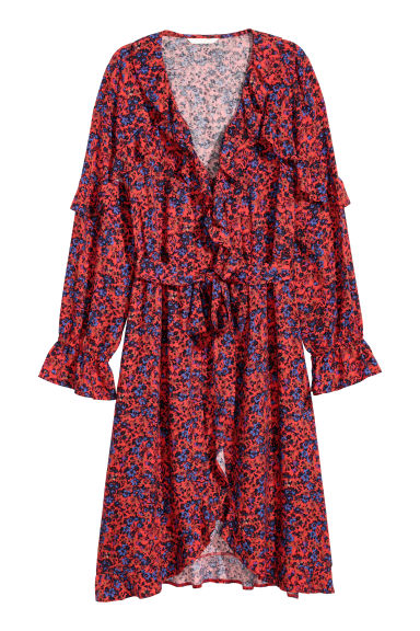 Patterned wrap dress - Red/Floral - Ladies | H&M IE