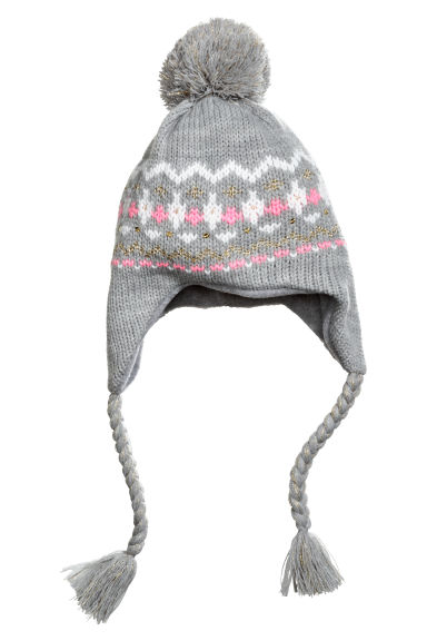 Hat with earflaps - Grey/Gold-coloured -  | H&M