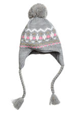 Hat with earflaps - Grey/Gold-coloured - Kids | H&M CN 1