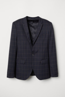 Skinny Fit Checked Blazer