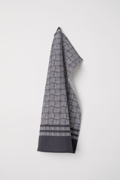 Patterned tea towel - Dark grey/White - Home All | H&M CN