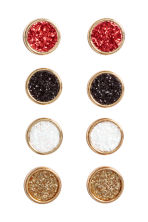 4 pairs round earrings - Red - Ladies | H&M 1