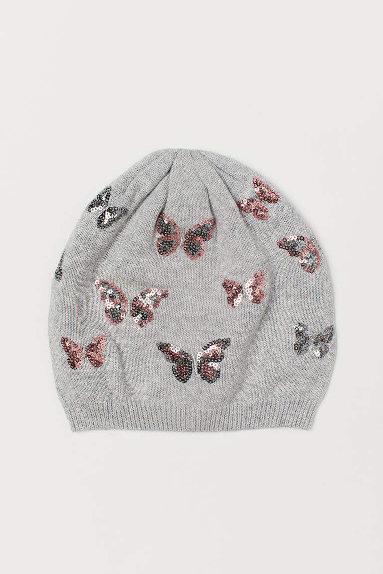 Hat with sequins - Grey marl/Butterflies - Kids | H&M GB