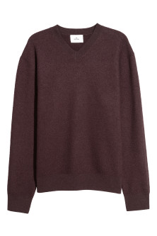 V-neck Boiled Wool Sweater