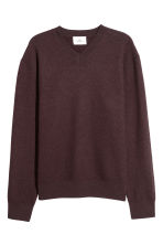 V-neck boiled wool jumper - Burgundy - Men | H&M CN 2
